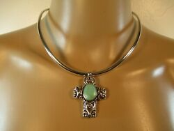 Sterling Silver .925 Collar Necklace amp; Religious Cross Scroll Pendant Vintage $53.95