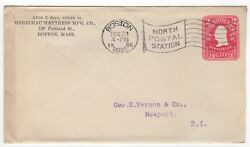 1906 Dec 29th. Commercial Post Office Cover Entire . Boston to Newport.