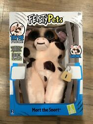 Feisty Pets Mort The Snort Spotted Pig Plush Animal Shows Teeth When Squeezed $15.99