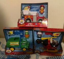 RYAN#x27;S WORLD Helicopter Fire Truck amp; Recycle Truck Lot of 3 $49.99