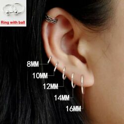 100% 925 Sterling Silver Earrings Mini Small Hoop Ear Bone Ring For Women Men $6.85