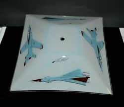 Airplane Ceiling Light Fixture Cover Glass Shade Fighter Jet 13quot; Square $28.95