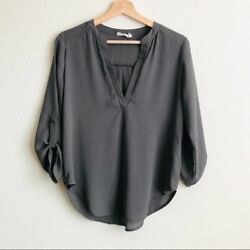 Lush SMALL olive green flowy Vneck blouse $14.99