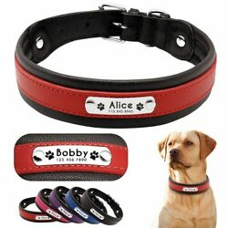 Padded Personalized Collars For Pets Leather Basic Type Collar Solid Pattern New $37.39