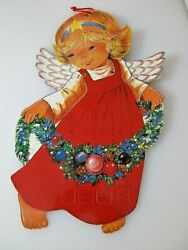 Vintage Cardboard Jointed Girl with Star Advent Calendar MOVEABLE WINGS $45.00