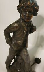 RARE Antique Lamp by French Artist A de Ranieri Figural Boy 16quot; $120.00