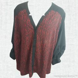Catherines Women's 5X 34 36 Blouse Classy Long Adjustable Sleeve Red Black Tunic $20.79