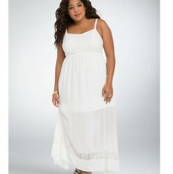 Torrid Maxi Dress Size 1X Plus Crinkle Gauze White Floral Embroidered $25.49