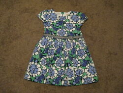 GYMBOREE NWOT Girls Size 4 T White Blue Green Flowered Dress $3.99