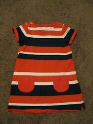 GYMBOREE Pre Owned Girls Size 5 T Red White Blue Striped Dress $3.99