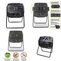 42 Gal. Capacity Garden Compost Bin Tumbler with 2 Chambers Dual Rotating Compos $89.99