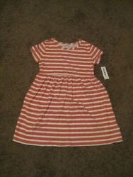 Old Navy NWT Girls Size 5 T Pink White Stripped Dress $1.99