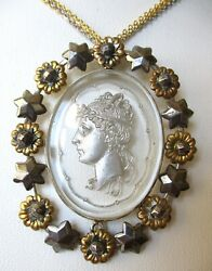 Antique Victorian Cut Steel amp; Reversed Etched Glass Cameo Necklace $290.00