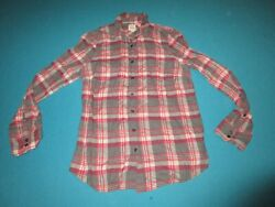 J CREW Womens Gray Red Pink Flannel Long Sleeve Size Medium M $14.99