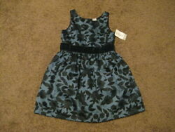 Carter#x27;s NWT Girls Size 5 Blue Floral Lined Dress $3.99