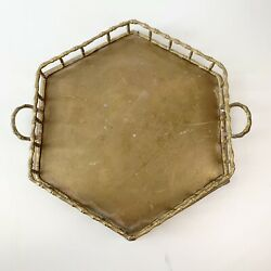 Vintage Brass Tray Hexagon with Bamboo Handles Made in India $20.00