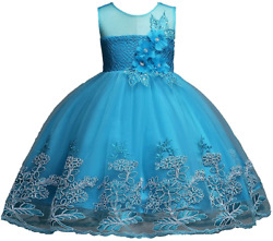 1 12 Years Girls Dress Sequin Lace Wedding Party Flower Dress $34.91