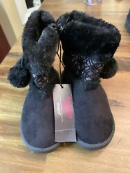 NEW Toddler Girls Size 7 Black Boots Zip Up Winter Fashion Faux Fur Lined $9.99