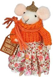 Primitive Country Fall Felt Mouse GRATEFUL THANKFUL BLESSED FREE SHIPPING $12.00