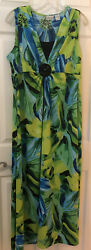 Kim Rogers Floral Print Embellished Maxi Dress Size 1X Excellent Condition $8.00