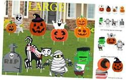 Halloween Decorations Outdoor Large Size 8 Pack Pumpkin Skull or Tricks Yard S $23.28
