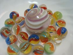 25 Marbles Collect Play Multicolor PeeWee Cats Eye Handmade Lutz Lavender Swirl $19.99