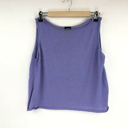 Eileen Fisher Womens Sleeveless Top Tank Rayon Nylon Purple Lavender Size Large $19.97