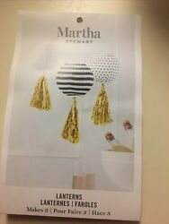 Martha stewart Navy Blue And White Lanterns With Gold Ribbons $13.00