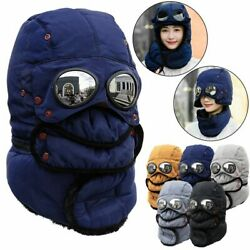 Thermal Winter Trapper Hat with Glasses Winter Cycling Windproof Ski Mask Cap $15.59