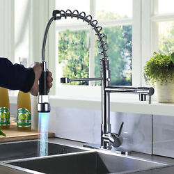 LED Kitchen Sink Faucet Pull Down Sprayer Swivel Mixer Tap Chrome With Cover