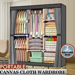 71quot; Portable Closet Wardrobe Clothes Rack Storage Organizer With Shelf Fabric $36.69