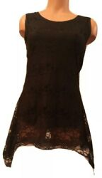 Black Stretch Lace Boho Gypsy Hippie Lined Sleeveless Tunic Top *SHIPS FREE* $9.00