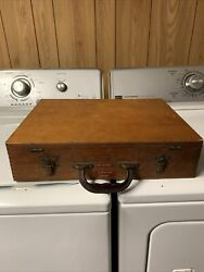 Antique Vintage Wooden Dovetailed Painters Box Filled With Goodies $124.88