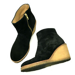 APC Womens Boots Black Suede Leather Wedge Ankle Crepe Sole Zip Shoes Sz 8.5 $104.99