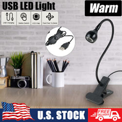 Clip on Flexible LED Reading Light Beside Bed Table Lamp USB Power $8.26
