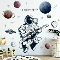 Space Astronaut Wall Stickers Decoration Planets Wall Decals Decorative Stickers $12.99