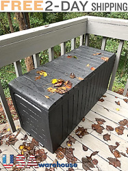 Large Outdoor Deck Storage Box Weather UV Resistant Durable Yard Bench Container $99.95