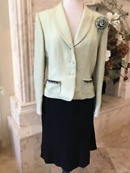 TAHARI MINT GREEN and Black Skirt Suits Jacket and Skirt Size 10 $80.99