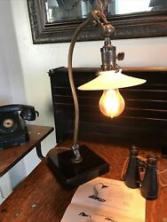 Antique Ornate Vintage Desk Office O.C. White Stone Based Lamp $2400.00