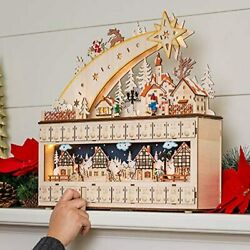 Best Choice Products Wooden Christmas Shooting Star Advent Calendar Holiday Deco $111.44