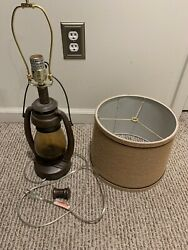 Rustic Industrial Accent Table Lamp Miner Lantern Living Room Bedroom $65.18