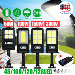 Commercial Outdoor COB LED Lamp Solar Street Wall Light PIR Motion Sensor Remote
