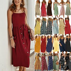 Women Summer Strappy Sleeveless Maxi Midi Dress Casual Beach Holiday Dresses $14.05