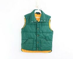 Vtg 80s Streetwear Mens Small Outdoor Hiking Button Up Puffer Vest Jacket Green $35.95
