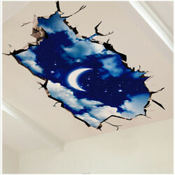 3D Wall Sticker Decal Moon Sky Floor Ceiling Room Home Art Mural Decor Removable $11.48