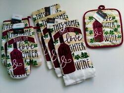 6 Pc This Home Runs on Love Laughter amp; Wine Kitchen Linens Set True Living $16.88