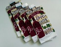 4 Pc This Home Runs on Love Laughter Wine Kitchen Linens Dishtowels True Living $14.00