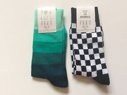 2 PAIRS WOMENS NOVELTY QUEEN SIZE SOCKS *CHECKS AND STRIPES * NWL *BLK WHT GREEN $12.59