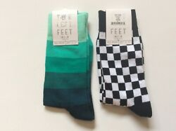2 PAIRS WOMENS NOVELTY QUEEN SIZE SOCKS *CHECKS AND STRIPES * NWL *BLK WHT GREEN $13.99
