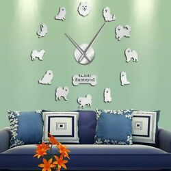 Frameless Mirror Surface Wall Clocks Dog Patterned Stickers Home Watch Clock New $31.44